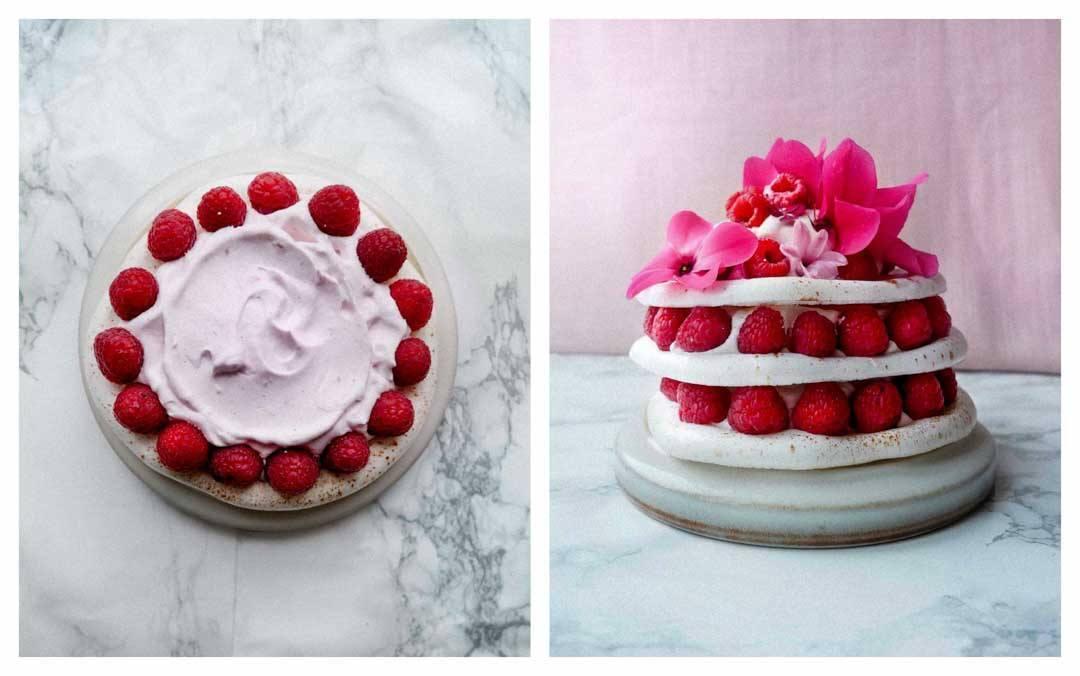 Vegan Meringue Raspberry Cake