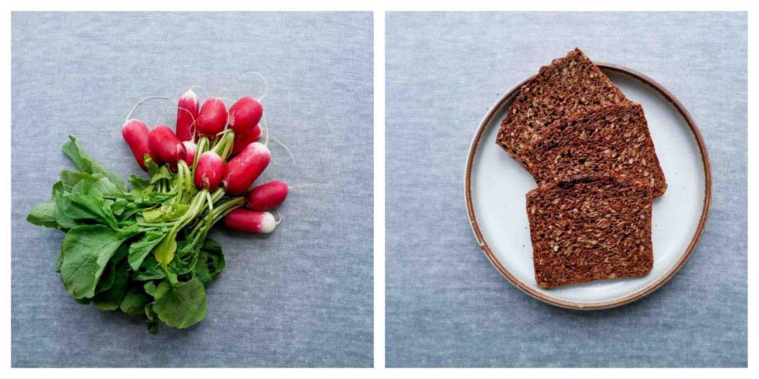 rye bread radishes