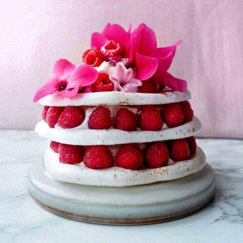 vegan meringue cake raspberries