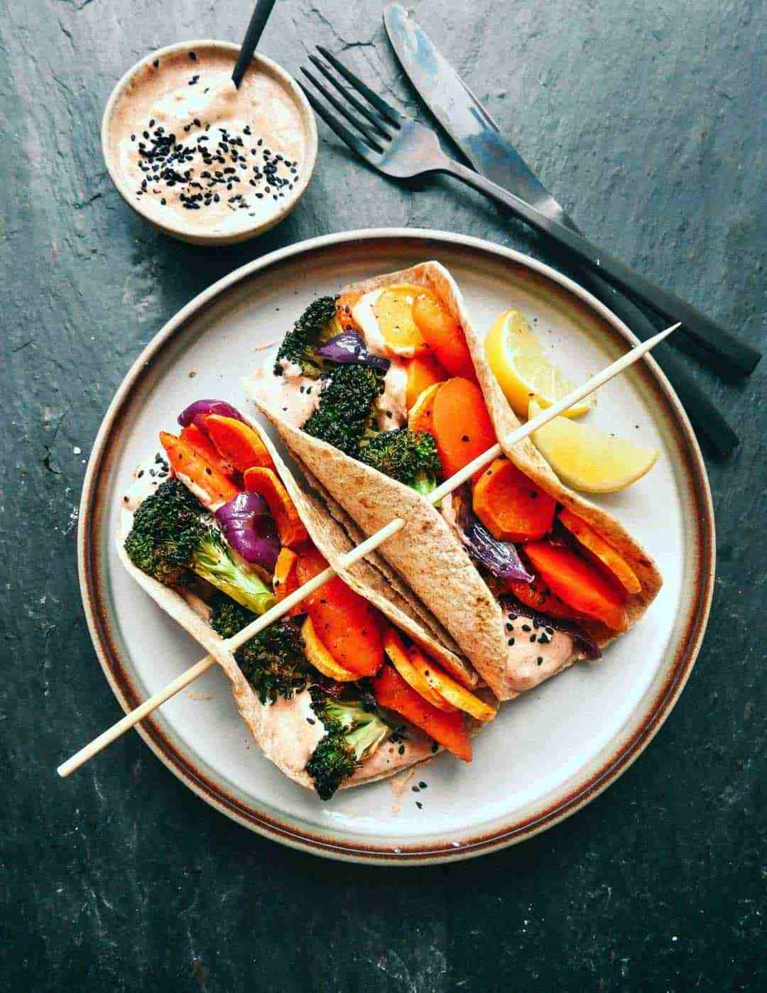 Vegetarian wraps with vegetables and spicy mayo