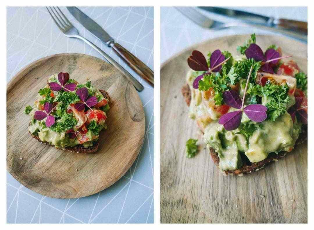 salat avocado rugbrød