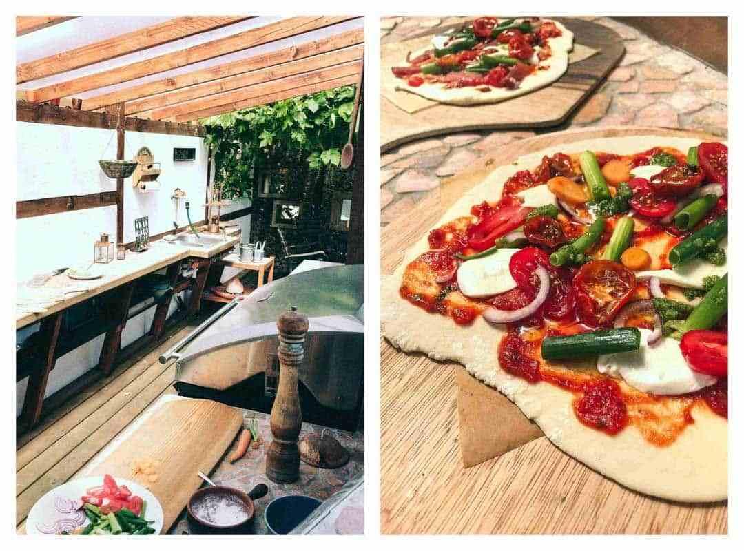 pizza med vegetables