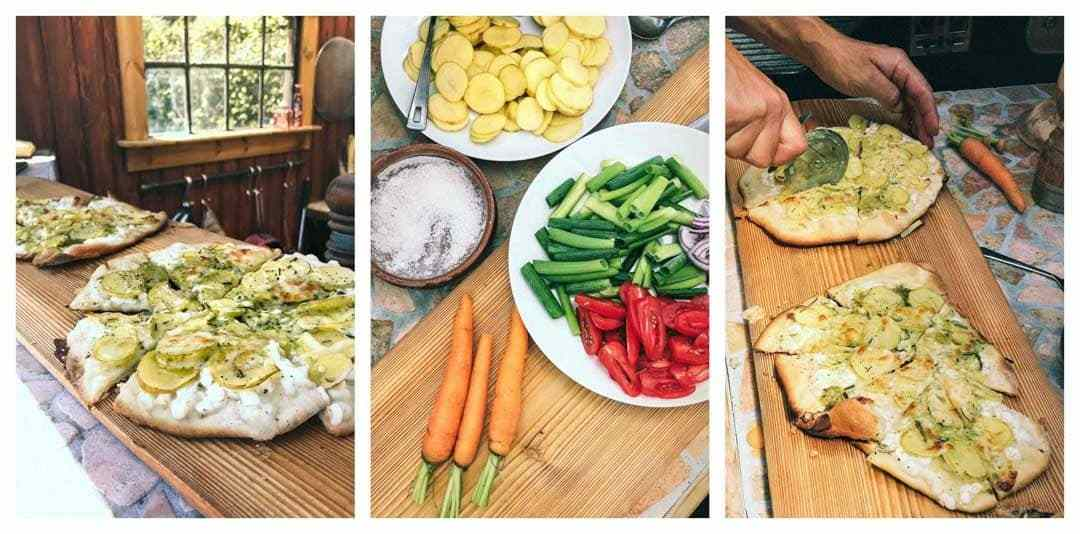 pizza med kartoffel og grøntsager