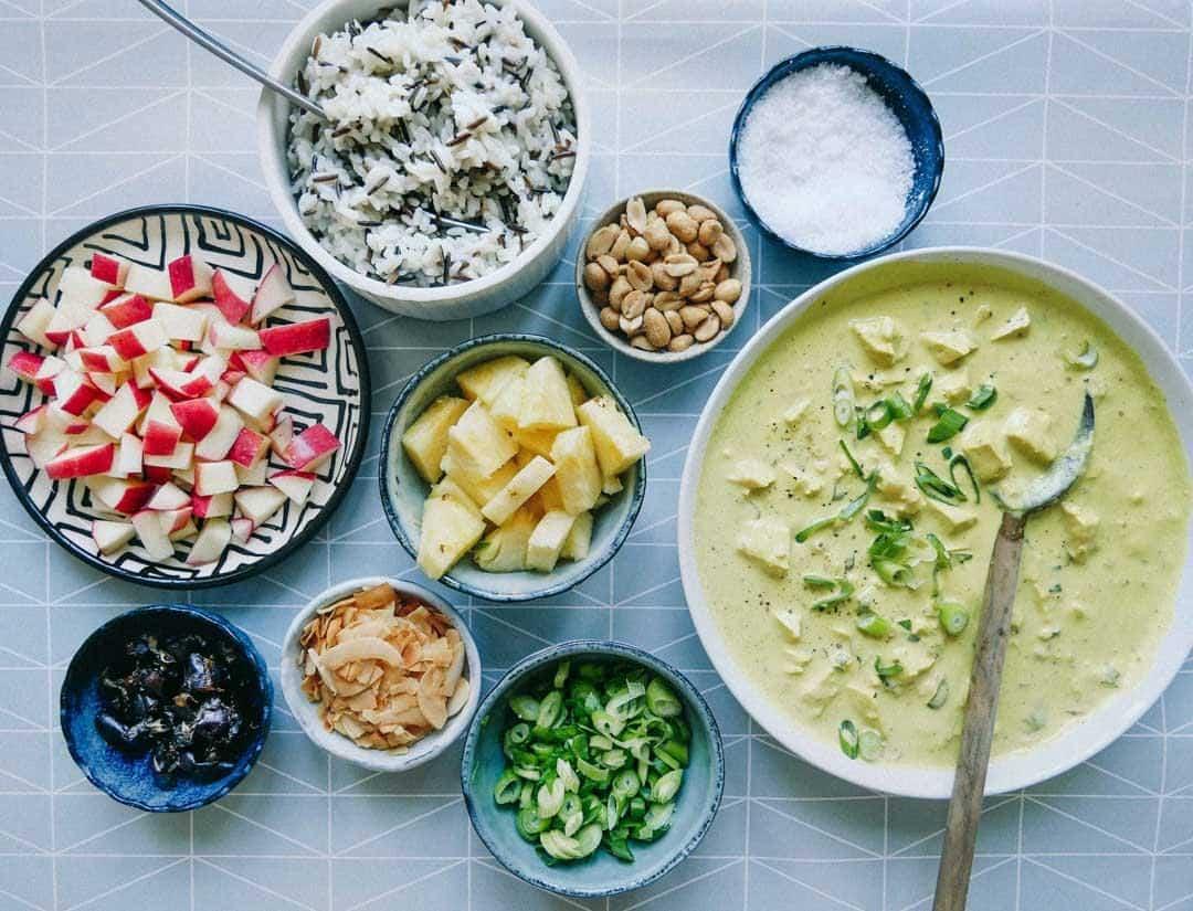 vegetar ristaffel karry tofu opskrift