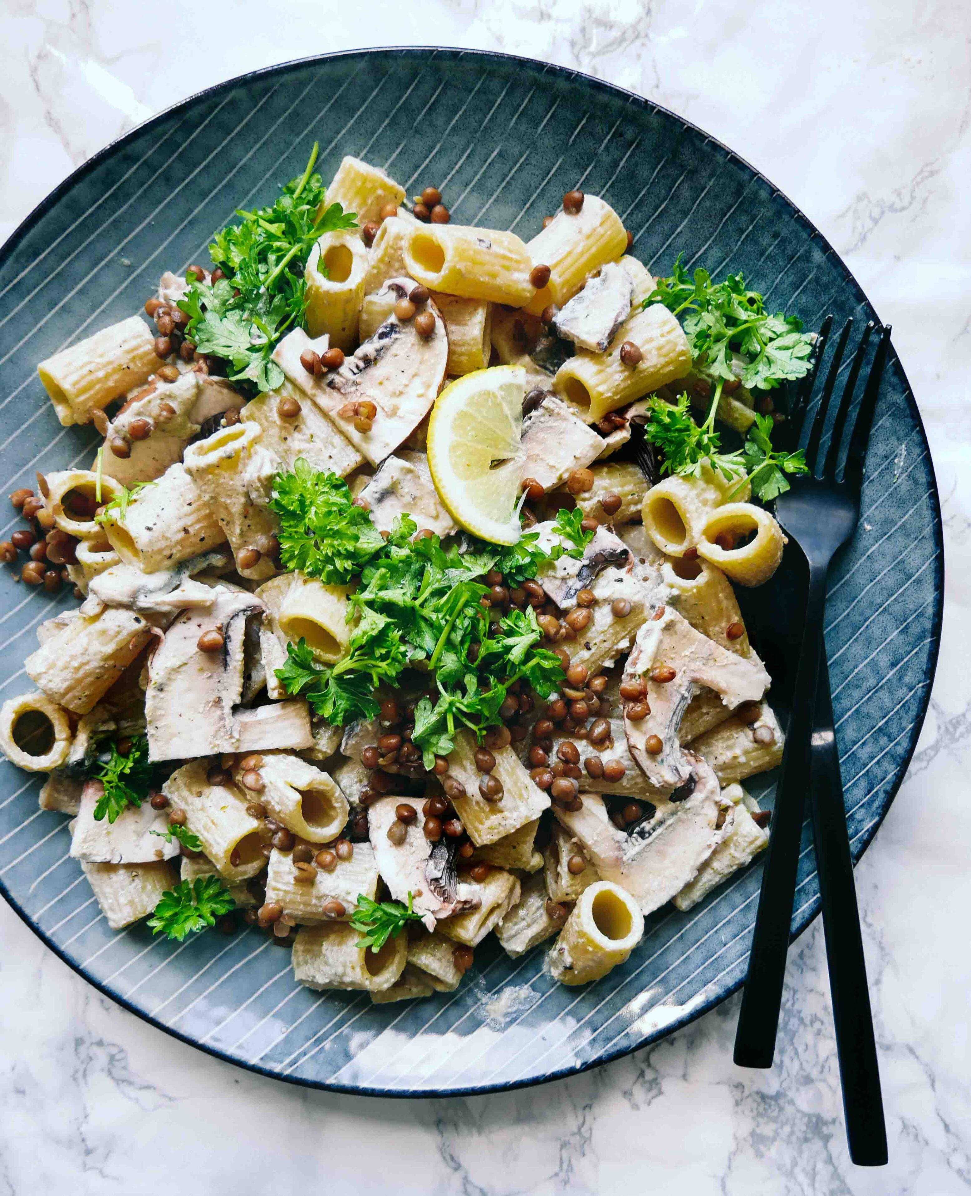 mushroom pasta vegan portobello