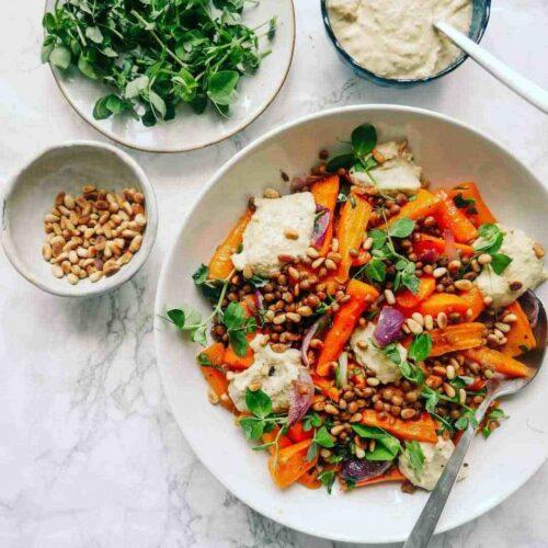 carrot salad hummus autumn