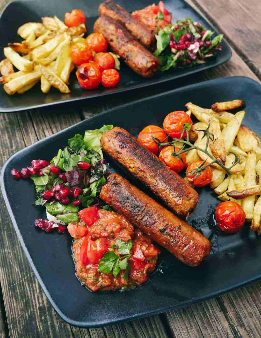 vegan bean sausages vegetables