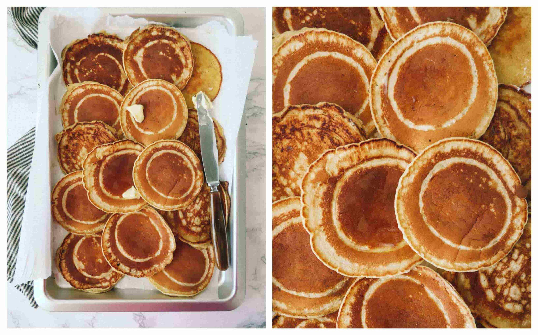 tykke amerikanske pandekager med smør