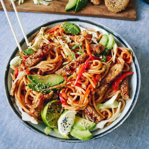 vegan asian spaghetti vegetables