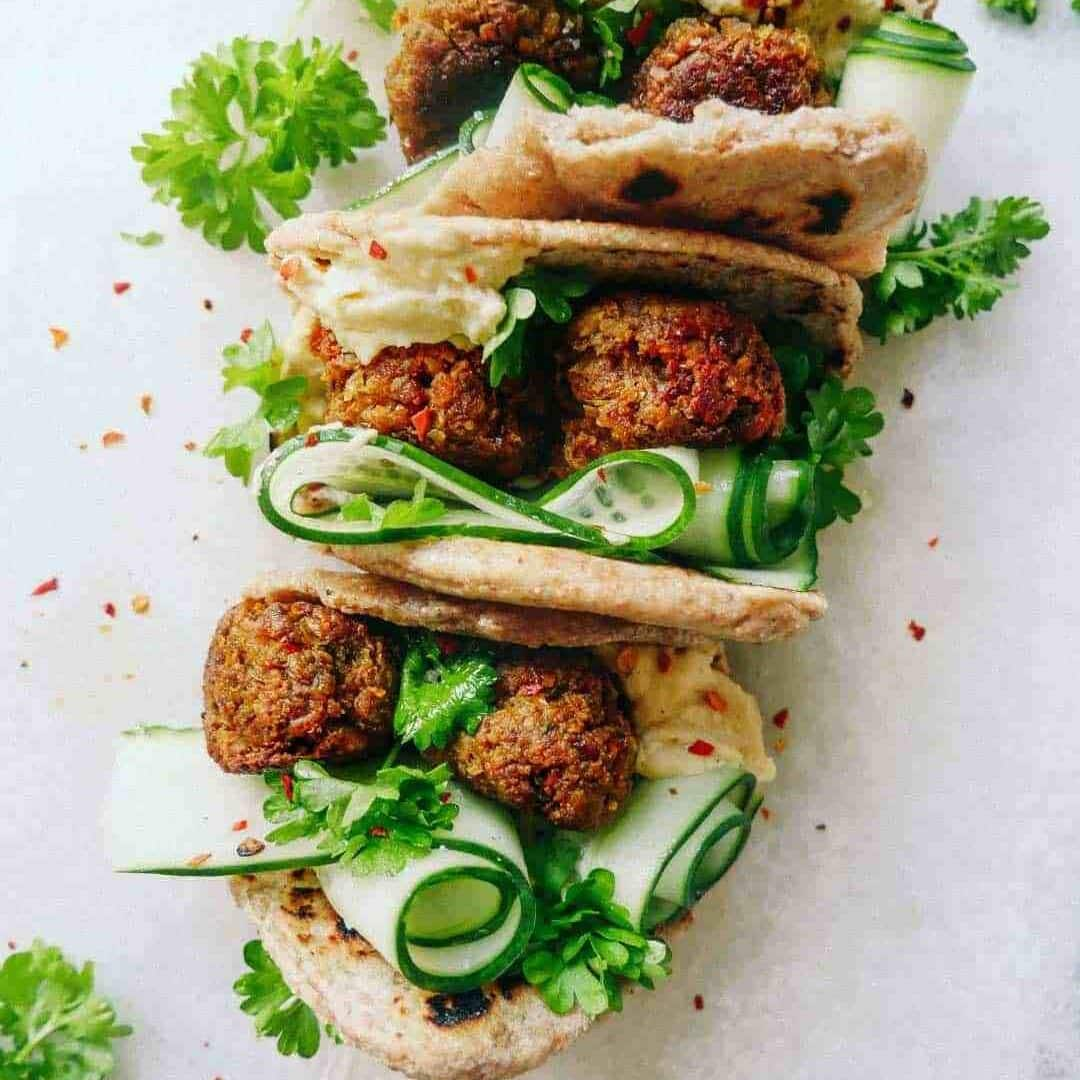 vegan meatballs flatbreads