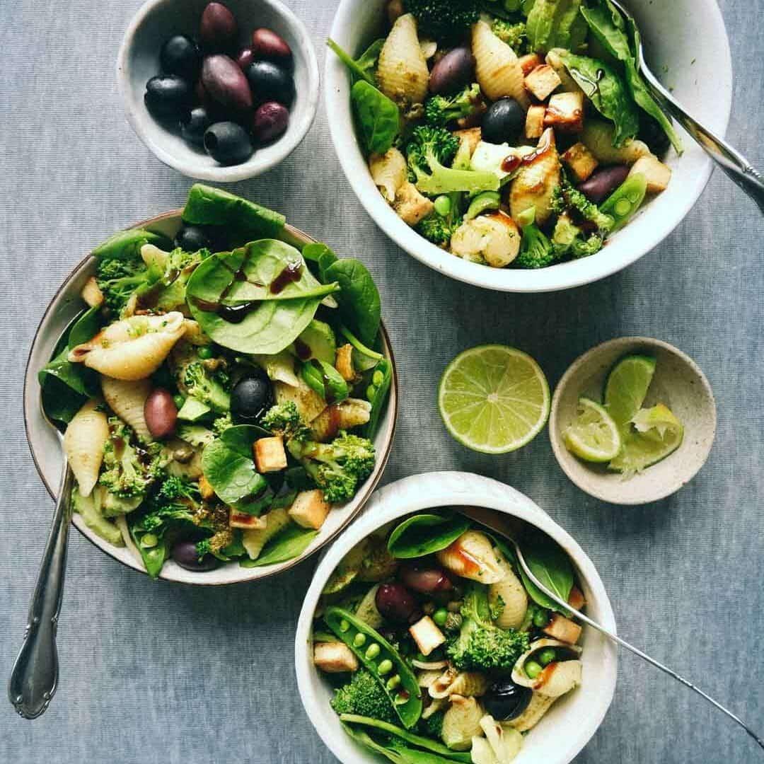 vegan salad pasta food blog