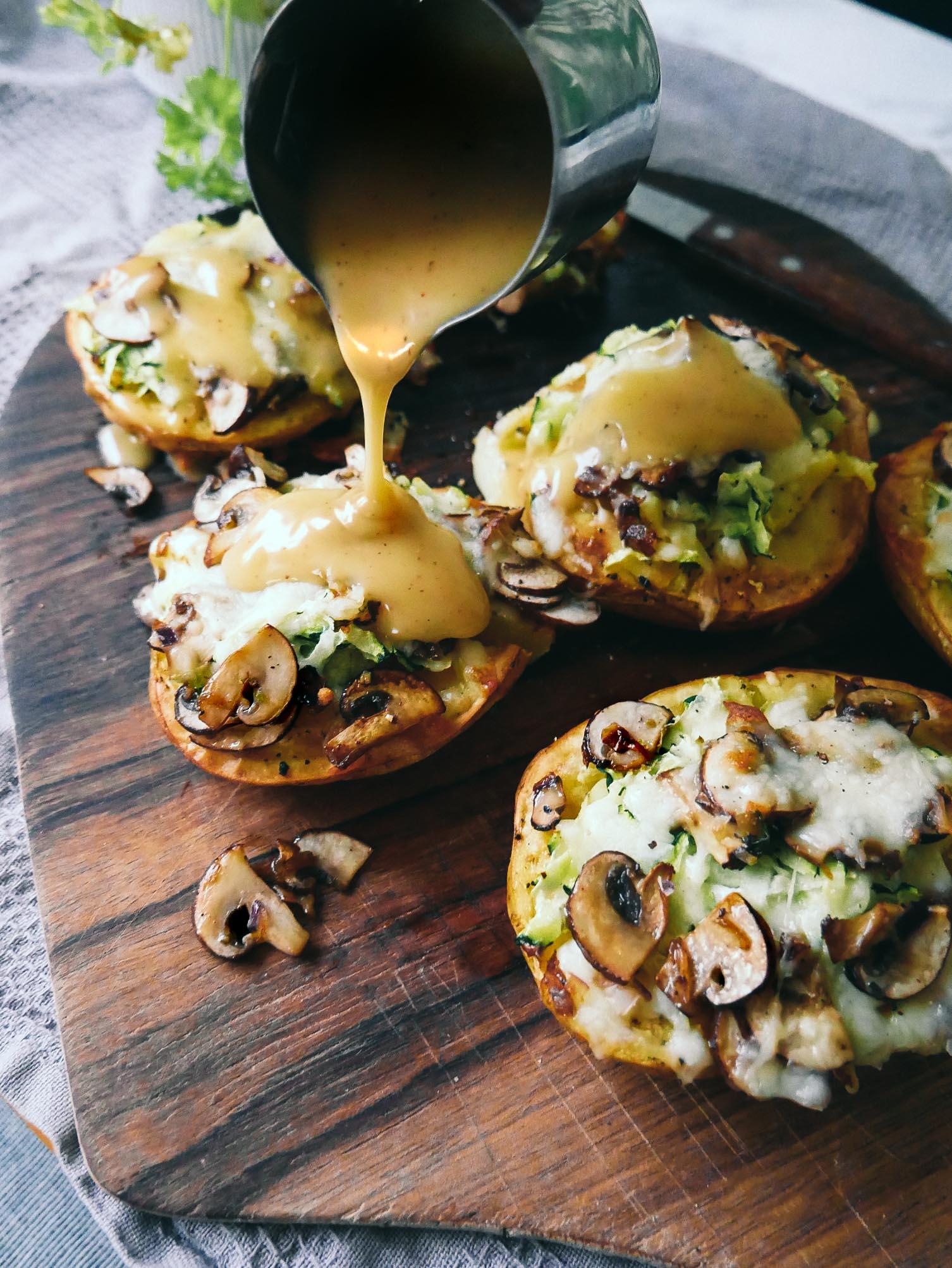 stuffed potatoes with zucchini and cheese