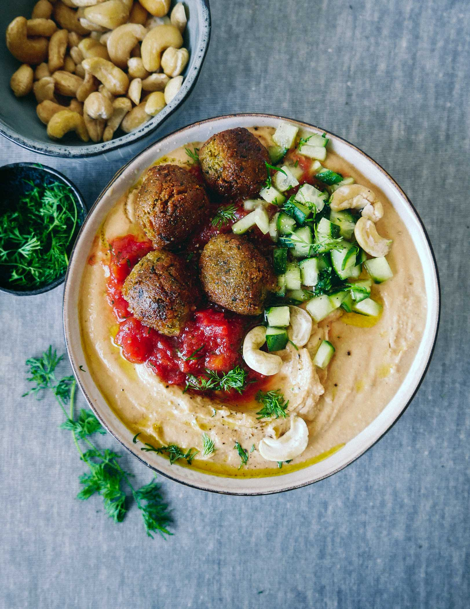 cashew hummus with falafels