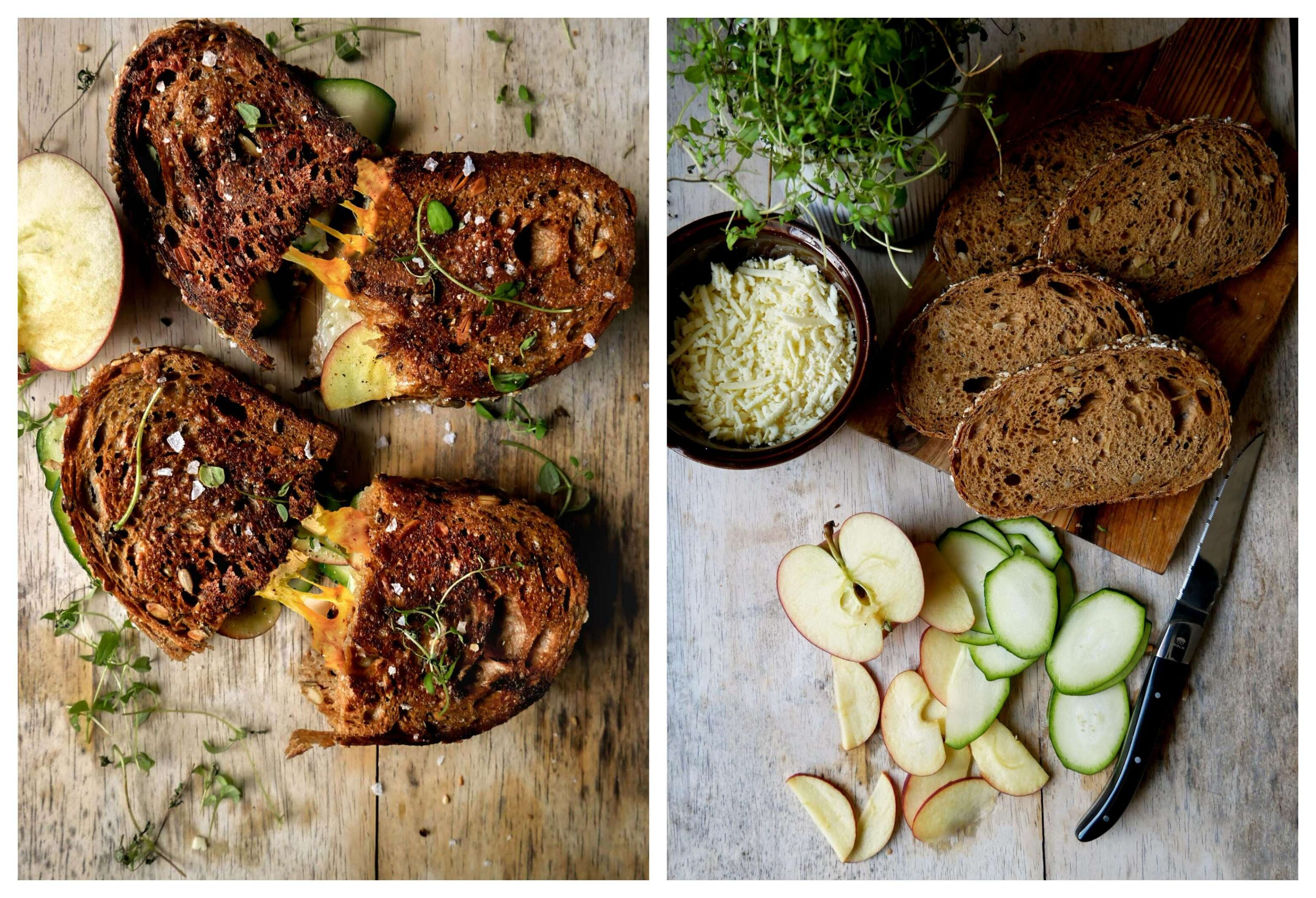 toast with apples and zucchini