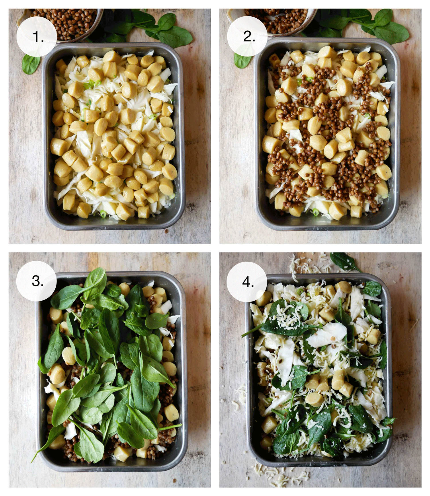 One-Tray gnocchi ingredients spinach cabbage