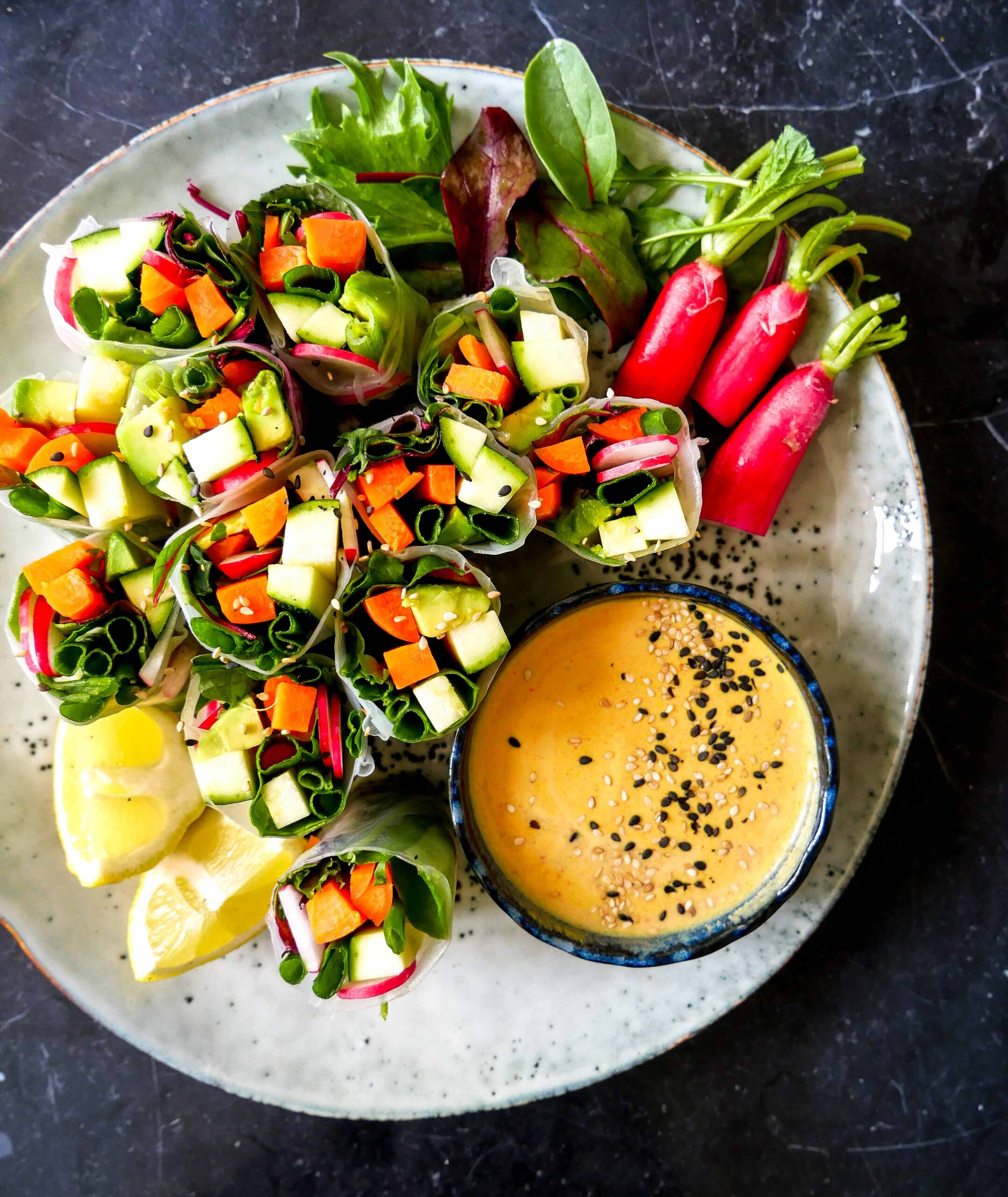 Vegetable Rice Paper Rolls with Peanut Sauce