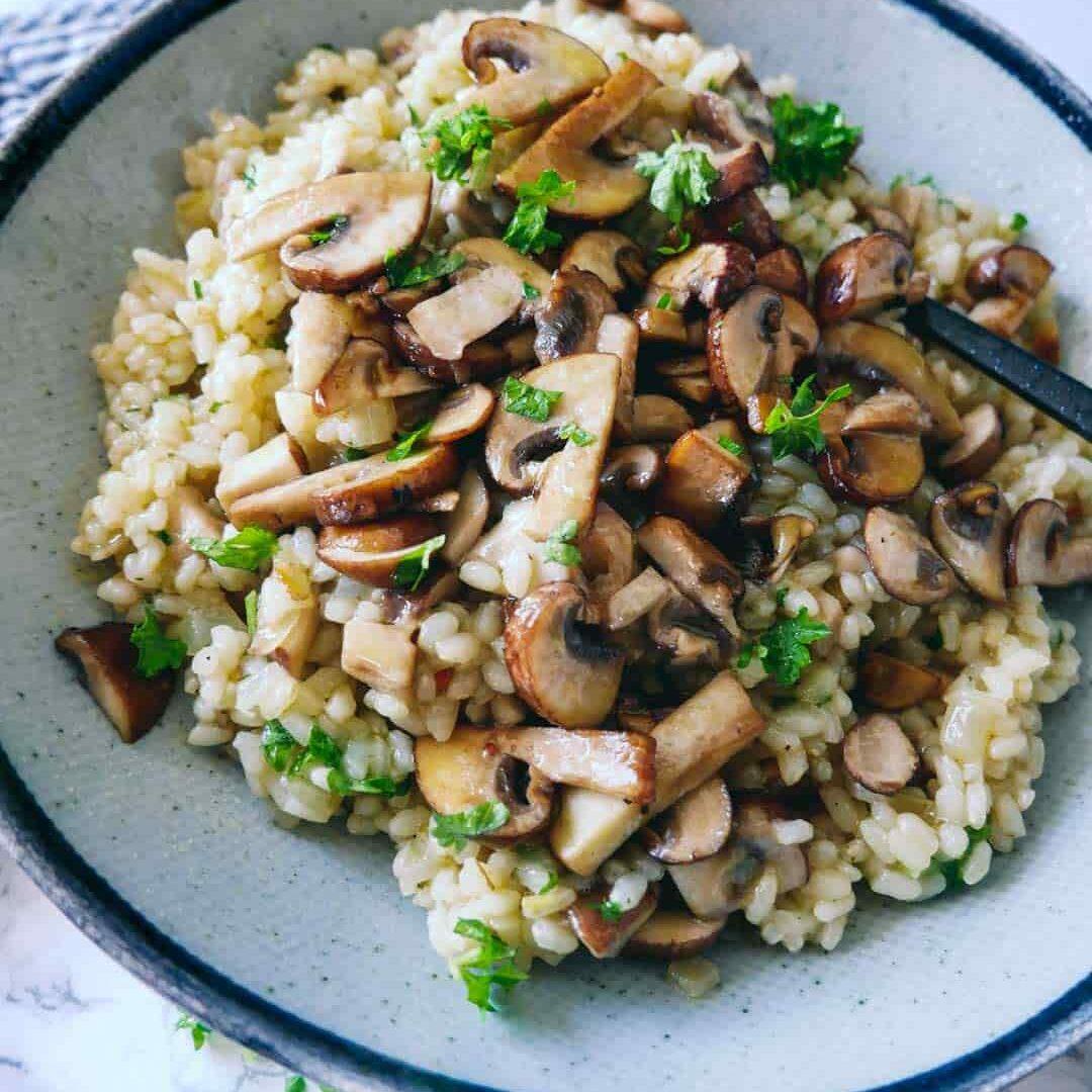 vegan risotto creamy mushrooms